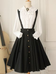 Clásico Algodón Larga Lolita Falda Tirantes Botones Diseño