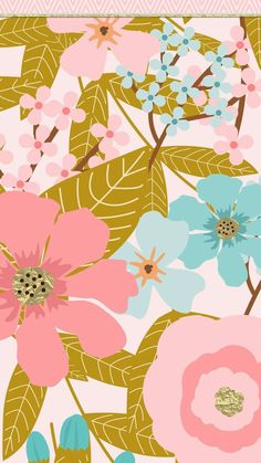 Pink and blue flowers iPhone wallpaper