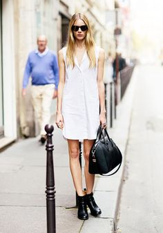 white dress and ankle boots #style #fashion #streetstyle