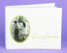 """Sweethearts Forever Wedding Guest Book features a white cover with an oval, gold border portrait of a young boy and girl holding hands. The photo is antique black and white with the only color coming from the rose behind the boy's back. The words """"Our Guests"""" are printed in gold foil on the right side."""