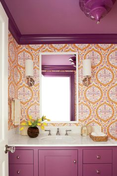 Andrew Howard Colorful Makeover Purple and Orange Powder Room Purple Bathrooms, Bathroom Red, Bathroom Ideas, Bathroom Inspo, Bathroom Designs, Bathroom Inspiration, Small Bathroom, Master Bathroom, T Wallpaper