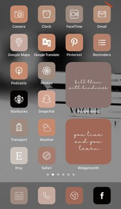 Want a home screen that looks like this? Check out SOSO Branding on Etsy (etsy.com/shop/sosobranding) for app covers to customize your home screen and make it aesthetically pleasing!   iPhone home screen ideas | Home screen inspo | Aesthetic home screen inspiration | Widgetsmith Shortcuts app | Aesthetic home screen inspo | iOS 14 widget photos | iOS 14 app covers | iOS 14 app icons Tinder Tips, Microsoft Visio, Shortcut Icon, Any App, App Covers, Open App, Brown Aesthetic, Iphone App, Layout Inspiration