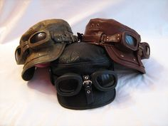A funky, bold leather steampunk cap from FamilySkiners on Etsy. Available in three colors, but only one shade of BADASS!