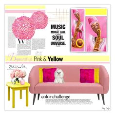 Color Challenge: Pink and Yellow - Music by mcheffer on Polyvore featuring interior, interiors, interior design, home, home decor, interior decorating, CB2, INC International Concepts, Worlds Away and NOVICA