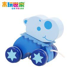 Hippopotame jouet animal marcheur bébé cadeau glisser jouet en bois de remorquage jouet livraison gratuite pull animaux