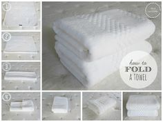 How to fold a towel and sheet set and organize a linen closet. So pretty!
