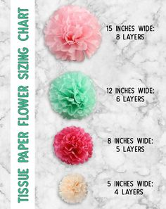 Tissue Paper Flowers: The Ultimate Guide - The Craft Patch The ultimate guide to learn how to make tissue paper flowers. Photo and video tutorial, plus sizing charts, hanging tips and creative ways to use tissue paper flowers! This is SOOOO handy. Pot Mason Diy, Mason Jar Crafts, Tissue Paper Crafts, Diy Paper, Tissue Paper Decorations, Tissue Paper Flower Diy, Paper Crafting, Tissue Paper Garlands, Diy Birthday Decorations