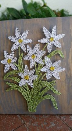 Daisy Flower Wall Art String Art Spring Home Decor Floral Wood Sign Gifts For…