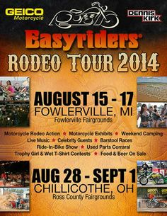 2014 Easyriders Rodeo NEW FLYER, Rodeo Dates, and Location  http://www.lightningcustoms.com/easyrider-rodeo-tour.html  Ride Safe,  Steve  -http://www.LightningCustoms.com  Biker Rallies Info  #2014EasyridersRodeo #EasyridersRodeo #BikerRallies #LightningCustoms