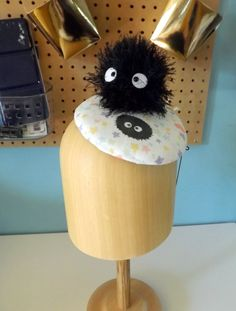 Soot Sprite Inspired Cocktail Hat.  Studio Ghibli, Totoro, Spirited Away, Susuwatari, Pillbox, Fascinator, Cosplay, Headpiece, Tilt Hat by ChefBizzaro on Etsy
