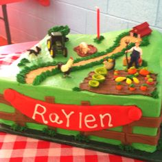 Raylen's Birthday Cake! Loved everything about it from the vegetable garden to the pig in the mud!