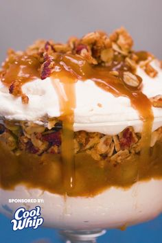 #ad This just in: your new favorite dessert is made with layers and layers of Cool Whip, delicious pecan crumble and caramel apples. Now dig in before we decide not to share! Fun Baking Recipes, Bakery Recipes, Fruit Recipes, Fall Recipes, Holiday Recipes, Cooking Recipes, No Bake Desserts, Just Desserts, Delicious Desserts