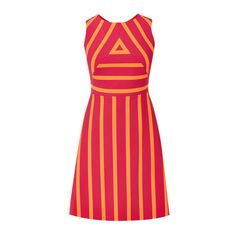 STRIPED DRESS (£120) ❤ liked on Polyvore featuring dresses, zip dress, stripe dresses, red dress, high neckline dress and red stripe dress