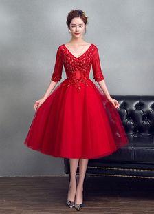 2196e46124d Red Prom Dresses 2018 Short Homecoming Dress Tulle V Neck Burgundy Beading  Flower A Line Half Sleeve Tea Length Graduation Dress
