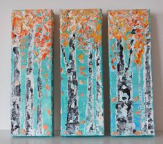 Orange Coral Teal Sky Autumn Aspen Tree by MyImaginationIsYours, $130.00