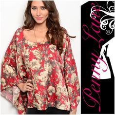 """Beautiful Wine Floral kimono sleeved top Gorgeous kimono top in beautiful shades of red and Browns. Batwing sleeves. Flattering cut for any shape! Description: L: 28"""" B: 56"""" W: 58  ❌SHIPPED WITHIN THE USA Penny Lane's Boho Boutique Tops Blouses"""