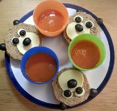 3 little bear sandwiches with 3 homemade tomato soup in color cups