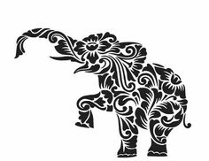 SVG cutting files templates elephant Flowers Cricut Silhouette Digital Home Party Decoration Vinyl Transfer Cards Scrapbooking Tribal Elephant, Elephant Design, Elephant Stencil, Elephant Head, Indian Elephant, Silhouette Cameo Projects, Silhouette Design, Flower Silhouette, Kirigami