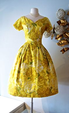 Vintage 1950's Dress  50s Yellow Rose Print Party by xtabayvintage, $298.00
