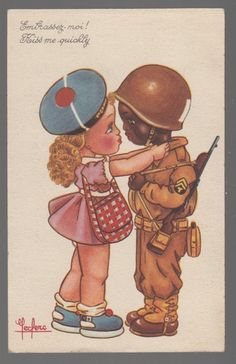 I've never seen a card like this - amazing. Don't think that this would have gone too well waaaaay down south.  Has to be VERY RARE CARD !  [31069] 1945 POSTCARD BLACK AMERICANA WHITE GIRL KISSING BLACK SOLDIER VALENTINE