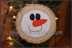 Snowman head burlap ornament applique design by 3AngelsApplique, $1.50