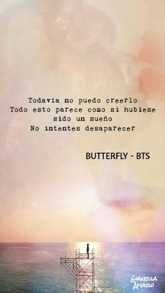 "|BUTTERFLY - BTS| Frase  *English TRANSLATION*  ""I still can't believe it, all of this seems like as if it was a dream. Don't try to disappear""                                                      -BTS BUTTERFLY"