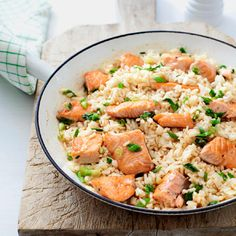 Salmon Pilaf with Green Onions