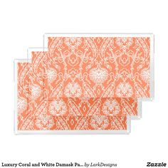Luxury Coral and White Damask Pattern Decorative Serving Tray