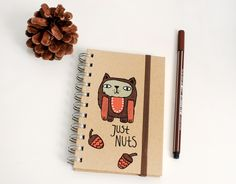 "kleines Notizbuch ""just nuts"" A6 de HerrPfeffer por DaWanda.com"