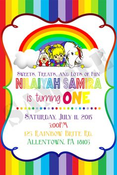 Rainbow Brite Digital Birthday Invitation By ThePurpleMonkeyShop