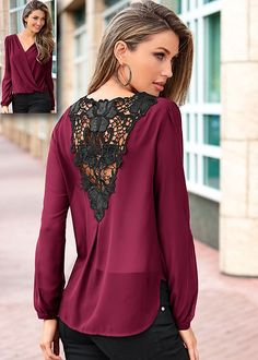 back v-neck hollow out lace women tops tshirt 2017 blusas mujer camisa female blusa social feminina moda femininas tshirts Chiffon Shirt, Lace Chiffon, Lace Tops, Blouses For Women, Women's Blouses, Ideias Fashion, Long Sleeve Tops, Just For You, Clothes