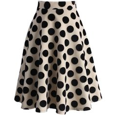 Chicwish Polka Dots Velvet A-line Midi Skirt found on Polyvore featuring skirts, bottoms, jupes, multi, a line skirt, black polka dot skirt, knee length a line skirt, velvet skirt and mid-calf skirt