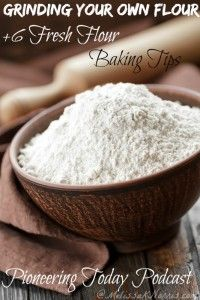 Grinding your own flour plus fresh flour baking tips. It took me 5 weeks to figure out how to use fresh flour. Excellent tips for altering your regular recipes to using fresh flour and which kinds of wheat berries are best for baking and where to get them. If you've ever wanted to grind and use your own flour, you need to read this now!