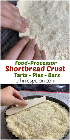 Ready to simplify your pastry making? This shortbread crust comes together in the food processor, you read that right. It's also made from simple ingredients too. Try it this holiday season. #easyshortbreadcrust #foodprocessorcrust #lazybaking | ethnicspoon.com Pie Crust Recipes, Pastry Recipes, Baking Recipes, Pie Crusts, Dessert Recipes, Baking Tips, Dessert Bars, Shortbread Cookie Crust, Cheesecake Crust
