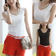 Sexy Women 's Knitted Lace Spaghetti Strap Sleeveless Tank Top Shirt Vest Blouse  -  gorgeous...........!