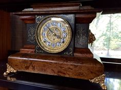 Seth Thomas Antique Adamantine Clock, Rare Design, 1898, Fine Gold Scroll Work