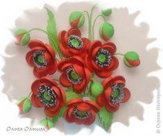 Картина панно рисунок Мастер-класс День рождения Квиллинг Маки+mini МК Бумага гофрированная Бумажные полосы Проволока Ткань фото 6