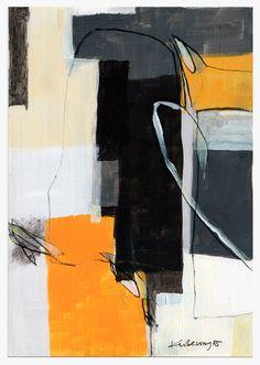 7x10 Painting original acrylic yellow black white by kuzennyArt
