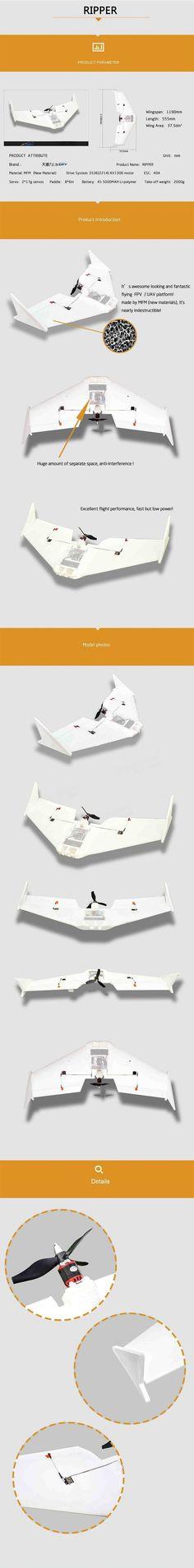 X-uav Ripper 1190mm Wingspan MFM FPV RC Plane Aircraft Kit Sale - Banggood.com
