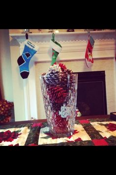 Spray paint pine cones for centerpiece