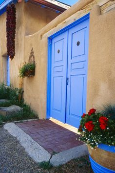 Blue Door of an Adobe Building Taos New Mexico
