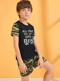 Boys Camo And Slogan Print Top & Shorts Set – kidenhome Cute White Boys, Cute Boys, Kids Boys, Handsome Kids, Beauty Of Boys, Kids Photography Boys, Army Shirts, Kids Suits, Boy Models
