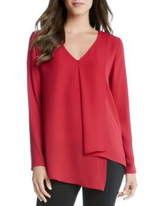 Karen Kane Asymmetric Draped Top | Bloomingdale's
