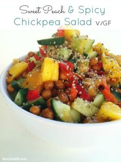 sweet peach, food, spici chickpea, dami health, summer salad, healthi live, healthy recipes, chickpeas, chickpea salad