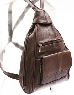 BROWN LEATHER BACKPACK ORGANIZER CC SLOTS ID WINDOW 112 #BackpackStyle