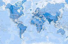 Shaded Ocean Blue Political Map Wallpaper Mural | Murals Wallpaper