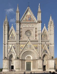 "Orvieto Duomo  Constructed under orders of: Pope Urban IV,   Dates built: 1290-1607  Archictectural style: originally Romanesque, but transformed to Gothic.  Built to commemorate and to house the Corporal of Bolsena, a miracle performed in 1263 - a few miles from Orvieto.   Houses the Niccoline Chapel, which is full of the frescoes: ""Christ in Judgment and Angels and Prophets,"" completed by Luca Singorelli, who was a huge inspiration to Michelangelo."