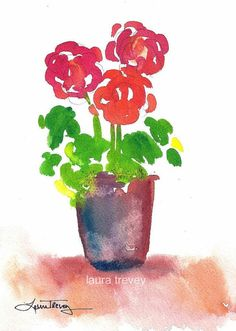 Mother's Day Gift Ideas | Red Geraniums Watercolor Print