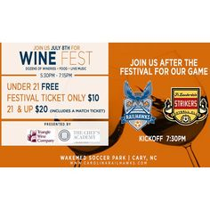 "Shop Local Raleigh on Instagram: ""@therailhawksfc will host their first ever pre-game wine festival this Wednesday, July 8th, at 5:30pm. Kickoff against the Ft. Lauderdale Strikers starts at 7:30pm! Members, use promo code ""SHOP"" and save 20% on tickets. Who's going?? #railhawks #winefest #showsomelocallove #supportlocalsports #localfootballclub"" www.shoplocalraleigh.org"