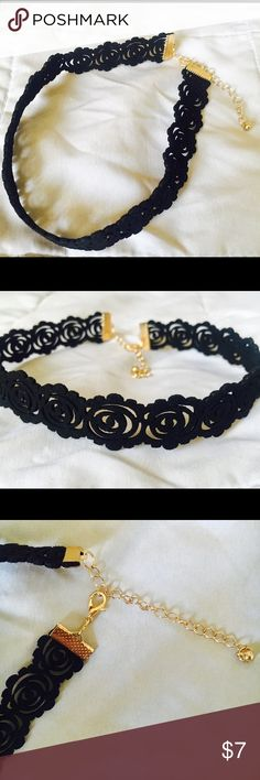 Black Velvet Rose Design Choker New ! 16 inch length ❤️ Price firm, no offers please. Jewelry Necklaces